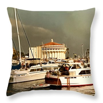Throw Pillow featuring the photograph Boats Catalina Island California by Floyd Snyder