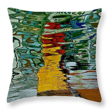 Boats In A Reflection Throw Pillow