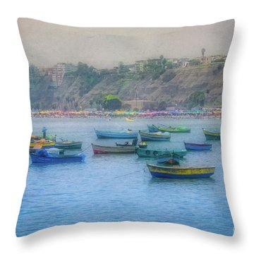 Throw Pillow featuring the photograph Boats In Blue Twilight - Lima, Peru by Mary Machare