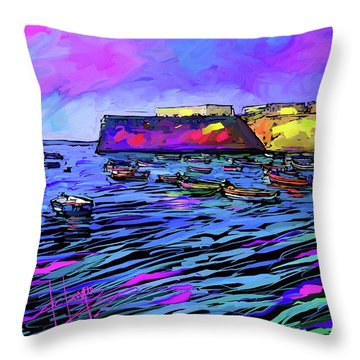 Boats In Cadiz, Spain Throw Pillow