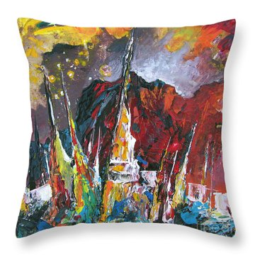 Boats In Calpe 01 Spain Throw Pillow by Miki De Goodaboom