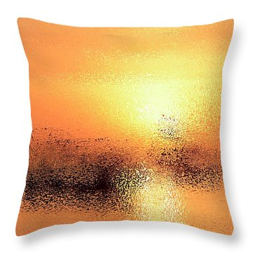 Boats In Gold Throw Pillow
