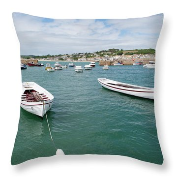 Boats In Habour Throw Pillow