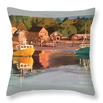 Boats In Kennebunkport Harbor Throw Pillow