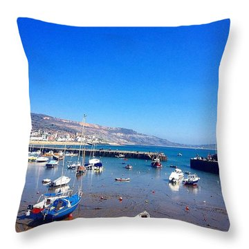 Boats In Lyme Regis Harbour Throw Pillow
