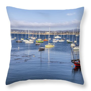 Boats In Monterey Bay Throw Pillow