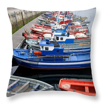 Throw Pillow featuring the photograph Boats In Norway by Joan  Minchak