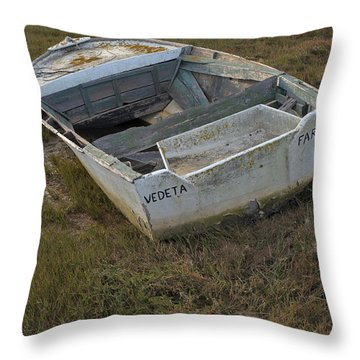 Boats In Ria Formosa Throw Pillow