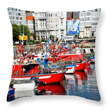 Boats In The Harbor - La Coruna Throw Pillow by Mary Machare