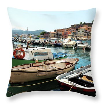 Throw Pillow featuring the photograph Boats In The Harbour by MGL Meiklejohn Graphics Licensing