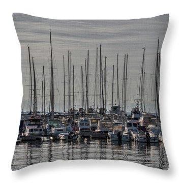 Throw Pillow featuring the photograph Boats In The Izola Marina - Slovenia by Stuart Litoff