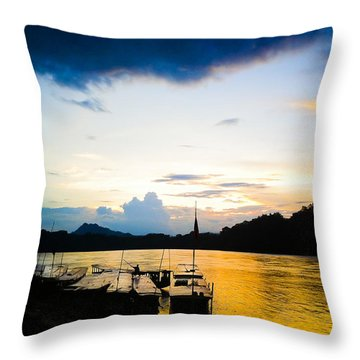 Boats In The Mekong River, Luang Prabang At Sunset Throw Pillow