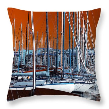 Throw Pillow featuring the photograph Boats In The Port Pop Art by John Rizzuto