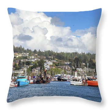 Boats In Yaquina Bay Throw Pillow