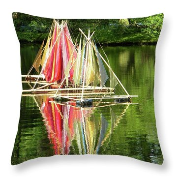 Boats Landscape Throw Pillow by Manuela Constantin
