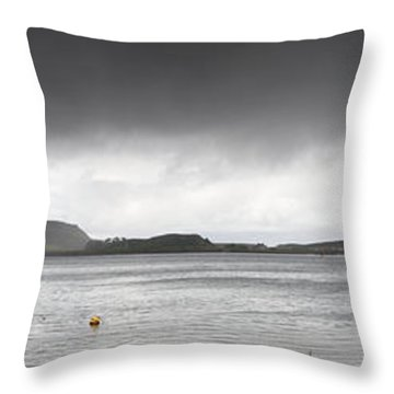 Boats Moored In The Harbor Oban Throw Pillow