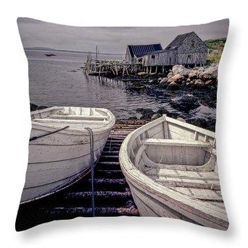 Boats Near Peggys Cove Throw Pillow