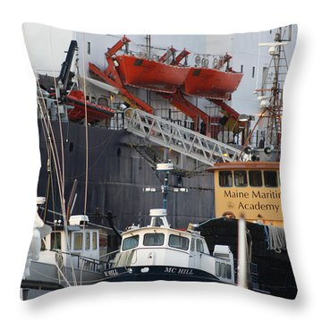 Boats Of Maine Maritime Academy Throw Pillow by Greg DeBeck