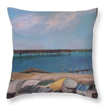 Boats Of Salt Run Throw Pillow