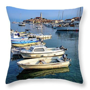 Boats Of The Adriatic, Rovinj, Istria, Croatia  Throw Pillow
