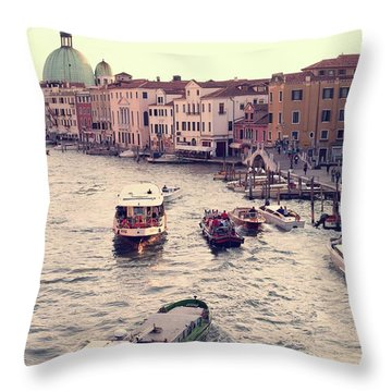 Boats Of Venice Throw Pillow