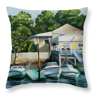 Boats On Crossbay Blvd. Throw Pillow