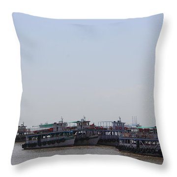 Boats On The Indian Ocean In The Haze Throw Pillow
