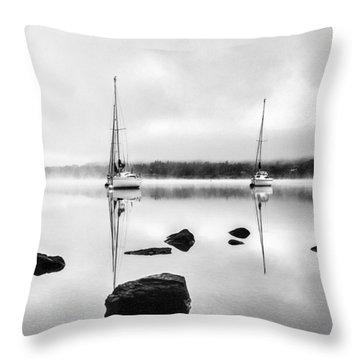 Boats On Ullswater In The Lake District Throw Pillow