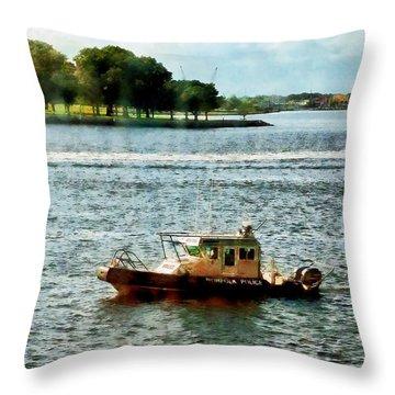 Boats - Police Boat Norfolk Va Throw Pillow by Susan Savad