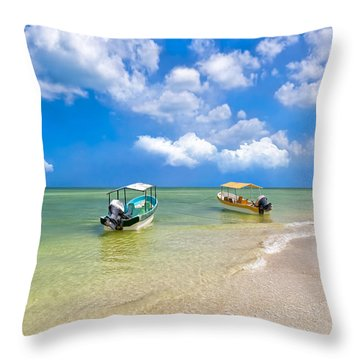 Boats Waiting By  A Mexican Beach Throw Pillow