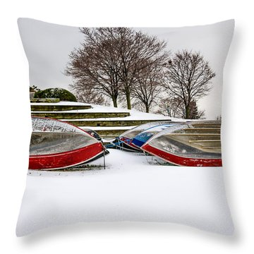 Boats Waiting On Spring Throw Pillow