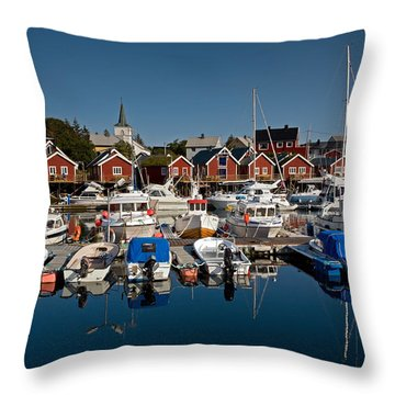 Boats With Reflections In Reine Port Throw Pillow by Aivar Mikko