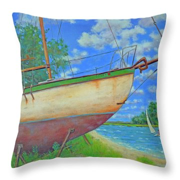 Boatyard On Shem Creek Throw Pillow by Dwain Ray