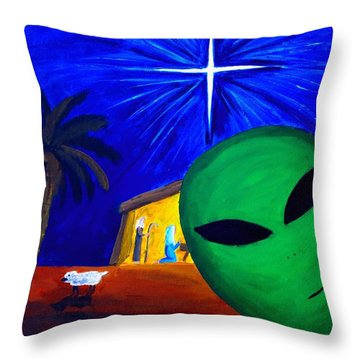 Throw Pillow featuring the painting Bob At The Manger by Lola Connelly