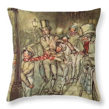 Bob Cratchit Went Down A Slide On Cornhill Throw Pillow