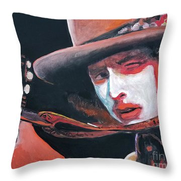 Bob Dylan Throw Pillow by Tom Carlton
