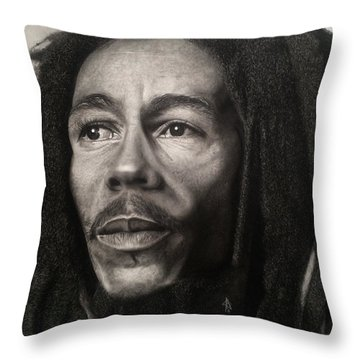 Bob Marley Drawing Throw Pillow