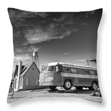 Throw Pillow featuring the photograph Bob Wills And The Texas Playboys Tour Bus Turkey Tx by Mary Lee Dereske