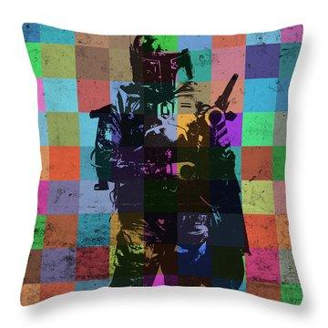 Boba Fett Bounty Hunter Pop Art Portrait Throw Pillow