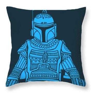 Boba Fett - Star Wars Art, Blue Throw Pillow