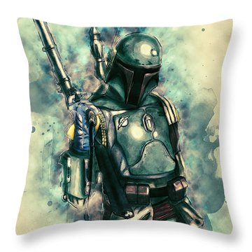 Boba Fett Throw Pillow by Taylan Apukovska