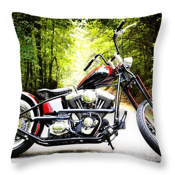 Bobber Harley Davidson Custom Motorcycle Throw Pillow