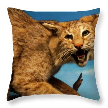 Throw Pillow featuring the digital art Bobcat On A Branch by Chris Flees