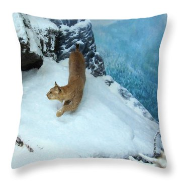 Throw Pillow featuring the digital art Bobcat On A Mountain Ledge by Chris Flees