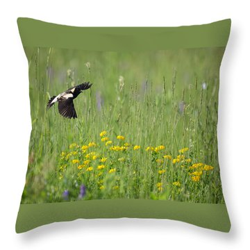 Throw Pillow featuring the photograph Bobolink In Paradise by Bill Wakeley