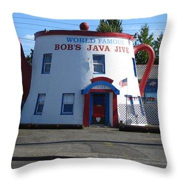 Bob's Java Jive Coffee Pot Throw Pillow by Kym Backland