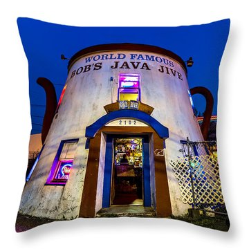 Bob's Java Jive - Historic Landmark During Blue Hour Throw Pillow