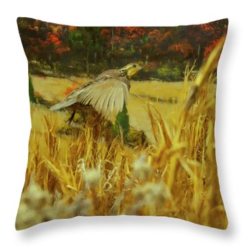 Throw Pillow featuring the digital art Bobwhite In Flight by Chris Flees