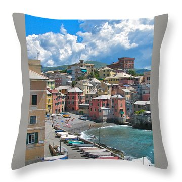 Boccadasse 2-genova, Italy Throw Pillow