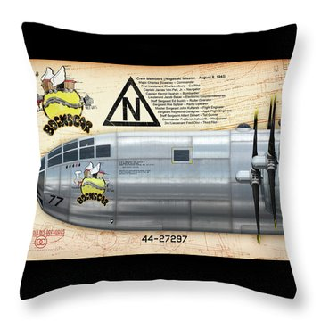 Bockscar Nosearts Throw Pillow by David Collins